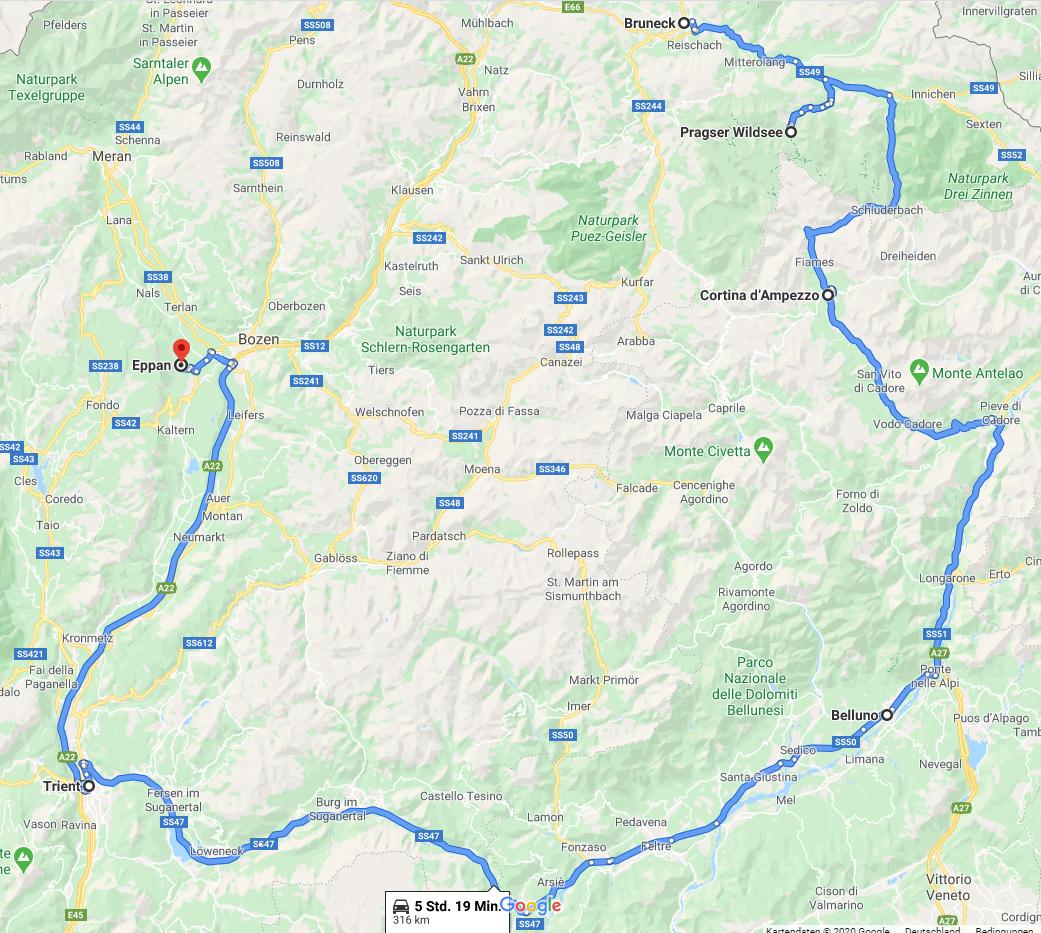 Norditalien Route